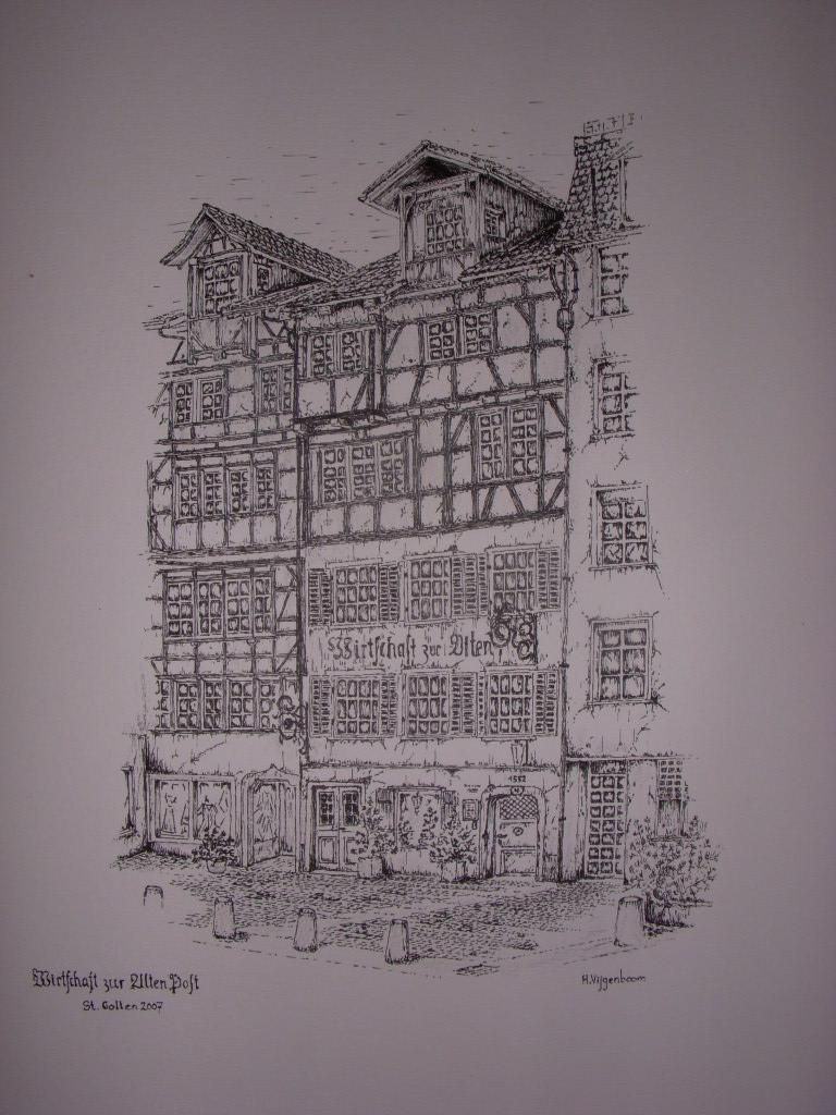 Zeichnung Gebäude Altstadt St.Gallen